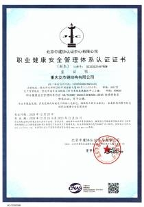 職業健康體系認證證書